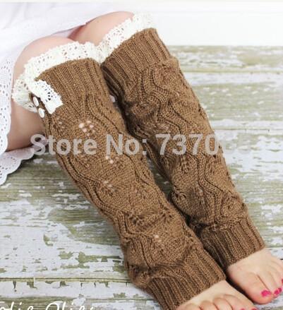 Knit Little Girls' Leg Warmers Crochet Lace Trim and Buttons children