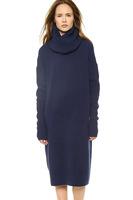 Detachable collar collar fold Loose rib long-sleeved sweater dress wholesale production