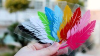 Free Shipping 10PCS Car Stickers, Multicolor Little Feathers Car Decal ,Reflective Waterproof On Rear Windshield Door