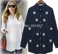 2014 Autumn Desigual wool Women embrodiery floral shirts blouse long sleeve Fashion women Girls blouse