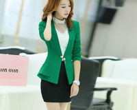 Women's Suit Blazer 2014 Slim Fit Korea Style and Pure Color and puff sleeve with A button small suit blazer women