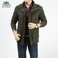 2014 plus size plus size man with hoodies collar army casual  man multi pocket jacket detachable cap coat