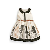 2014 New Girls Dress Sleeveless Dress Summer Design Collar 2 Colors 2-5T Fashion Children Clothing Girls Kids Clothes with belt