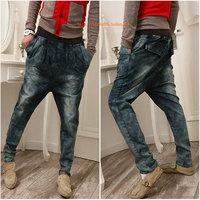 free shipping 2014 Fashion Limited Regular Harem Pants blue Plus Size Fashion men Jeans Harem Pants big Crotch Low-rise jeans