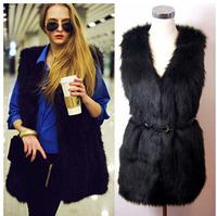 2014 New Winter Faux Fur Vest High Quality Elegant Sleeveless Fur Coats Womens Jacket Outwear Plus Size Waistcoat Free Shipping