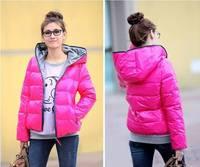 HOT 4 COLORS Women's Outerwear Winter Warm Hoodie Zip Up Down Jacket Coat New Down Coat Winter parka