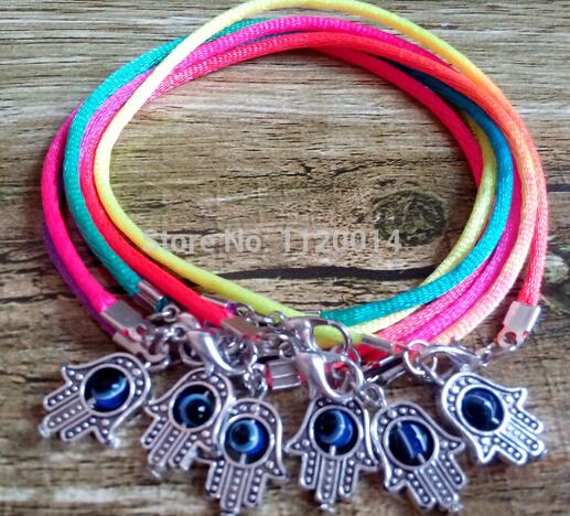 Lucky Bracelet Mixed Color Turkey Evil Eye Kabbalah Fatima Hamsa Hand Charms Nylon Red Rope Protection Hot Sell(100pcs+gift)(China (Mainland))