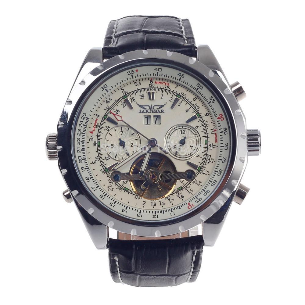 JARAGAR Rotary Digital Compass + Date display Mechanical Men's Watch - Black + Silver + Beige(China (Mainland))