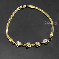 Women Ladies GIRLS 22K Yellow Gold Filled Link Crystal Flowers Bracelets Link Box Chain Accessories