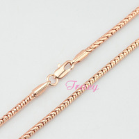 New 2.5mm Mens Womens Couple 18K Rose Gold Filled Bamboo Chain Long Necklace Fashion Jewelry