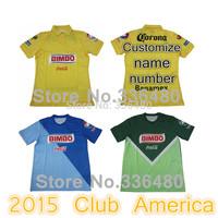 New arrival 14/15 Club America Yellow blue green Raul Sambueza M.LAYUN MICKY ss best quality soccer football jersey shirt