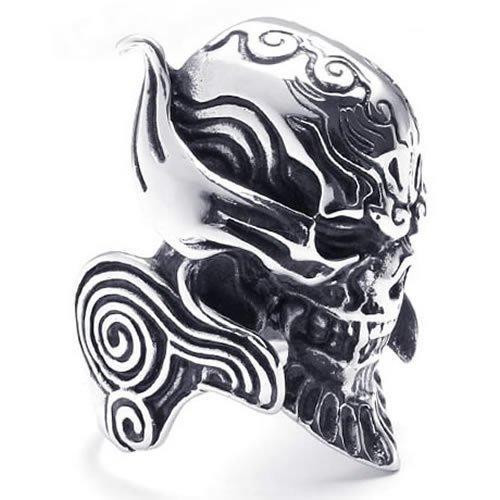Men's 316L Large Stainless Steel Ring Devil Skull Engraved Gothic Biker RR74(China (Mainland))