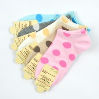 Cute Candy Big Dots Polka Dot socks women sockPicture1 lot =20pieces=10pairs boat socks free shipping
