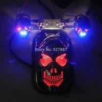 Motorcycle Quad ATV Skull Turn Signal Brake Rear Tail Light For Harley Chopper B