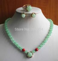 Wholesale factory price Women's semi-precious stones jade Necklace earring ring set #165