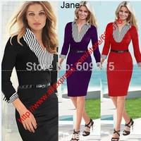 2014 New Women Casual Dress OL Slim Long Sleeve Elegant Party Vintage Dresses Work Wear