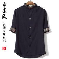 2014 Summer trend national short-sleeve shirt male plus size plus size half sleeve linen shirt fluid men's casual tshirts