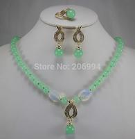 Wholesale factory price Women's semi-precious stones jade Necklace earring ring set #164