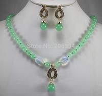 Wholesale factory price Women's semi-precious stones jade Necklace earring set #166