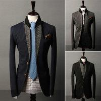 New 2014 Autumn Winter Men leisure suit Blazer Slim Features Stitching Collar Men leisure suit Blazer Free Shipping Promotions