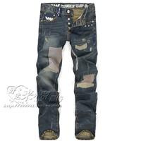 2014 fashion new arrival man  Waf street slim denim jeans Men hole beggar pants patch men's straight jeans male