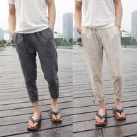 2014 men linen capris pants vintage harem ankle length linen pants casual skinny korean plus size trousers for men