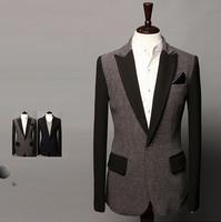New 2014 Autumn Winter Men leisure suit Blazer Slim Men leisure suit Blazer Free Shipping Promotions Gray