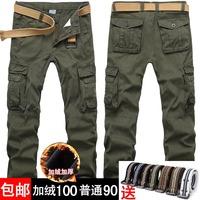 Men's clothing plus velvet thickening multi pocket pants overalls plus velvet multi-pocket casual pants trousers Camouflage