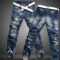 2014 Men's clothing taper jeans male slim skinny jeans plus size plus size hole designer vintage jeans