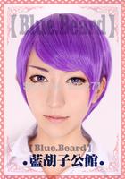 FREE SHIPPING Anime Tokyo Ghoul Tsukiyama Shuu Short Purple Full Lace Cosplay Wig Costume Heat Resistant + CAP