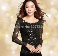 t shirt women woman lace t-shirt long sleeve blusas femininas casual silm sexy new 2014 clothes atacado roupas tshirt