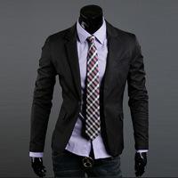 New 2014 Autumn Winter Men Formal Blazer Slim Pure Color Men Formal Blazer Free Shipping Promotions Black/ White