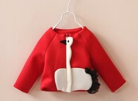 2014 autumn children clothes girls knitted cotton lace pocket pure single breasted coat Wholesale baby girls jacket  red cotton