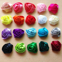 100pcs/lot  DIY hair accessories Baby Kids 4cm Handmade Satin Rolled Ribbon Rose Flowers polyester fabric rosettes for headband