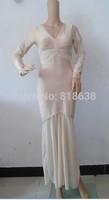 in stock newest 2014 High Quality beige V neck long sleeve mesh long maxi Bandage Dress  Celebrity dress wholesale black
