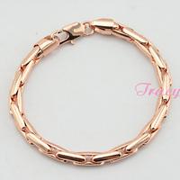 6mm Chunky Long 23cm Bracelet  Mens Womens 18K Rose Gold Filled Link Chain Wristband