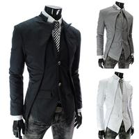 New 2014 Autumn Winter Men leisure suit Blazer fashion Stand collar Slim leisure Pure Color Men Blazer Free shipping promotions