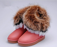 2014 new Children's Kids snow boots big fox fur tassels Girls high to help cotton-padded shoes winter boots 096