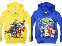 Cartoon long-sleeved sweater autumn Kids Hooded Sweater t-shirt  American hero  Hulk  Iron Man
