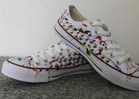 XZLRO brand colorful artwork canvas shoes women rivets sneakers fashion shoes plus size 41 shoes for women