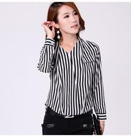 2014 New Women Korean Fashion Slim OL Career Casual Striped Chiffon Shirt Female Long-Sleeved Shirt