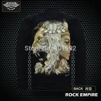 Indian lion beautiful T-shirt Long sleeve luminous The 3 d effect T-shirt rock empire