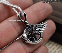 925 sterling silver skull hot wheels pendant