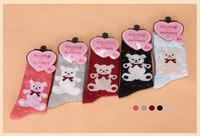 Warm and nice socks winter socks wool rabbit wool knit socks bear socks for girls