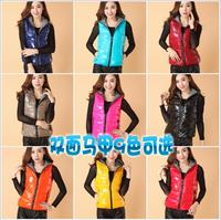 Fashion 2014 new winter women vests down cotton hood vest Girls coat women's vest plus Large size Both sides wear XXXXL 5XL 6XL