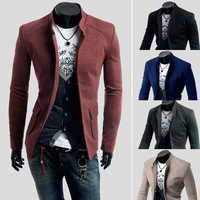 New 2014 Fall Winter Men Suit Blazer Fashion Pure Color Collar Slim leisure Men Blazer Free Shipping Promotion