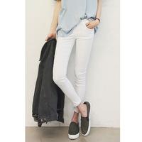 Korean women's high waisted skinny Jeans,female trousers elastic waist was thin white pencil pants