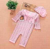 Retail New 2014 Autumn Infant Clothing sets Girls leisure 2pcs set:jumpsuits + Flower hat Leopard/Floral Baby wear