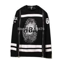 2014 HBA brand men's Outerwear pullover Fingerprint double zipper moleton HOOD BY AIR Sweatshirts cotton 69 stripe print