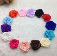 Wholesale 14 Colors DIY Baby Kids Satin Rolled Ribbon Rose rosette Flowers Appliques 4-5cm Hair accessory